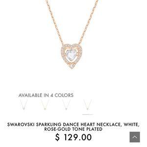 Swarovski Sparkling Dance Heart Rose Gold Necklace